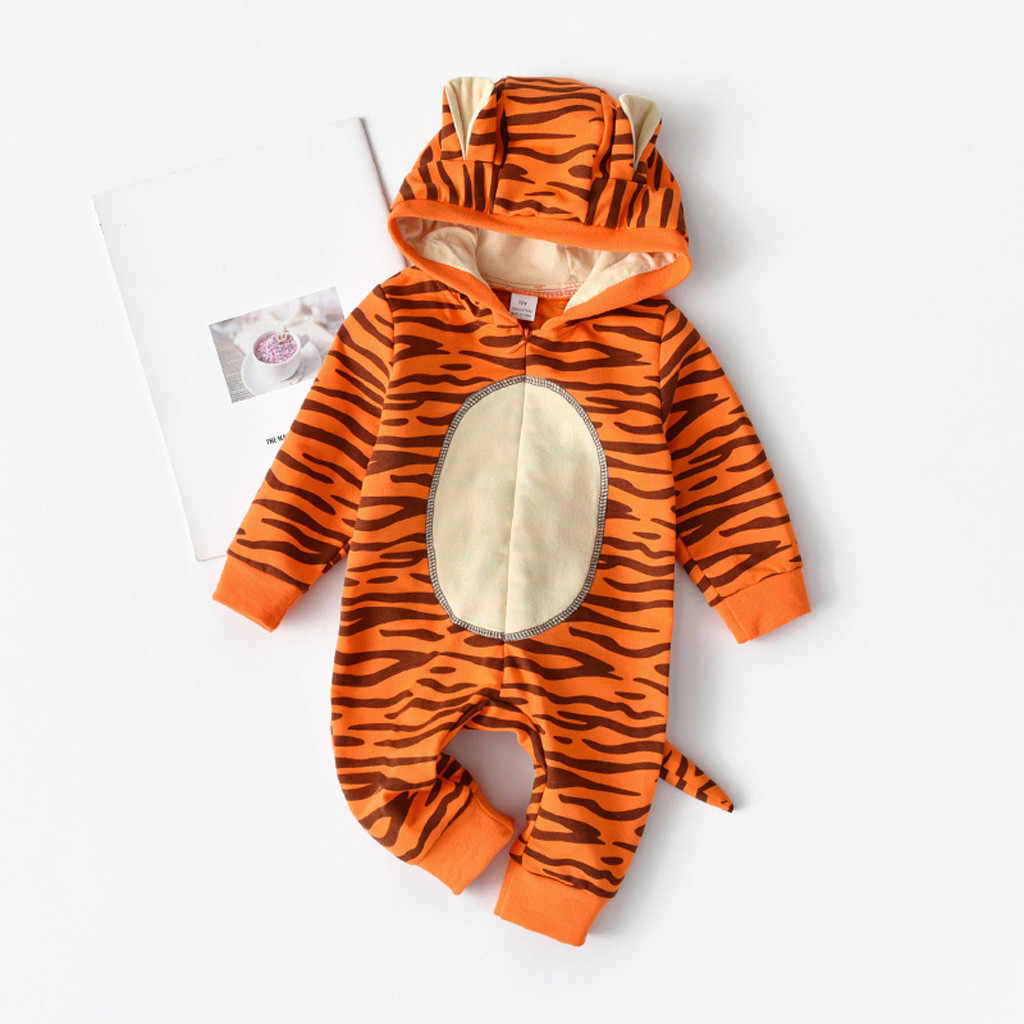 children's pajamas fashion Tiger Romper Newborn Infant Baby Girls Boys Cartoon Hooded Romper Jumpsuit cosplay Outfits #T96d