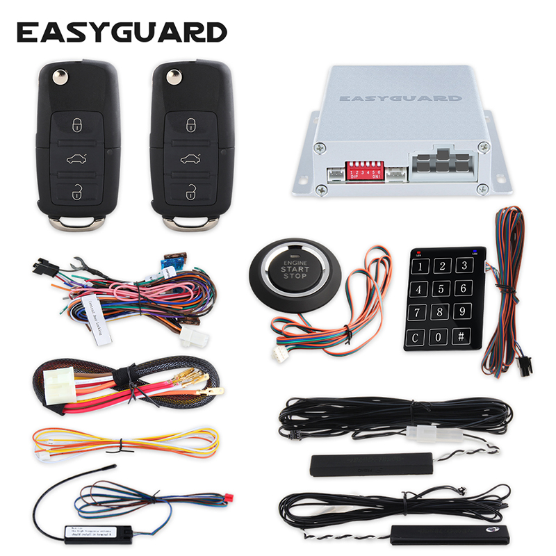 433.92MHZ PKE car alarm kit with push button start stop, remote engine start and remote lock unlock car, auto window close easyguard pke car alarm system remote lock unlock remote engine start push button start stop remote trunk release shock alarm