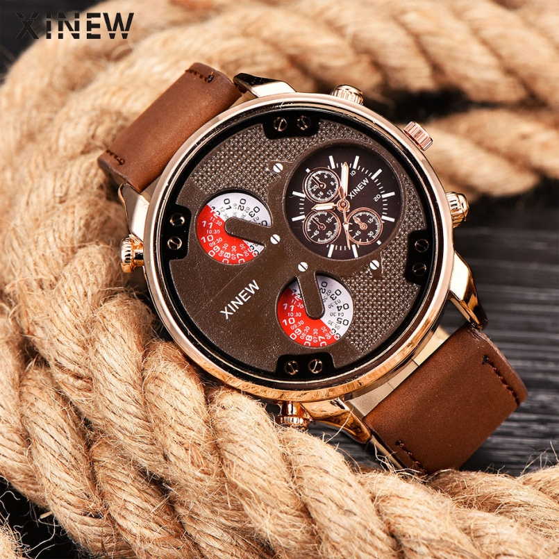 XINEW Brand Men's Fashion Casual Sport Watches Men Waterproof Leather Quartz Watch Man military Clock Relogio Masculino Gitf weide new men quartz casual watch army military sports watch waterproof back light men watches alarm clock multiple time zone