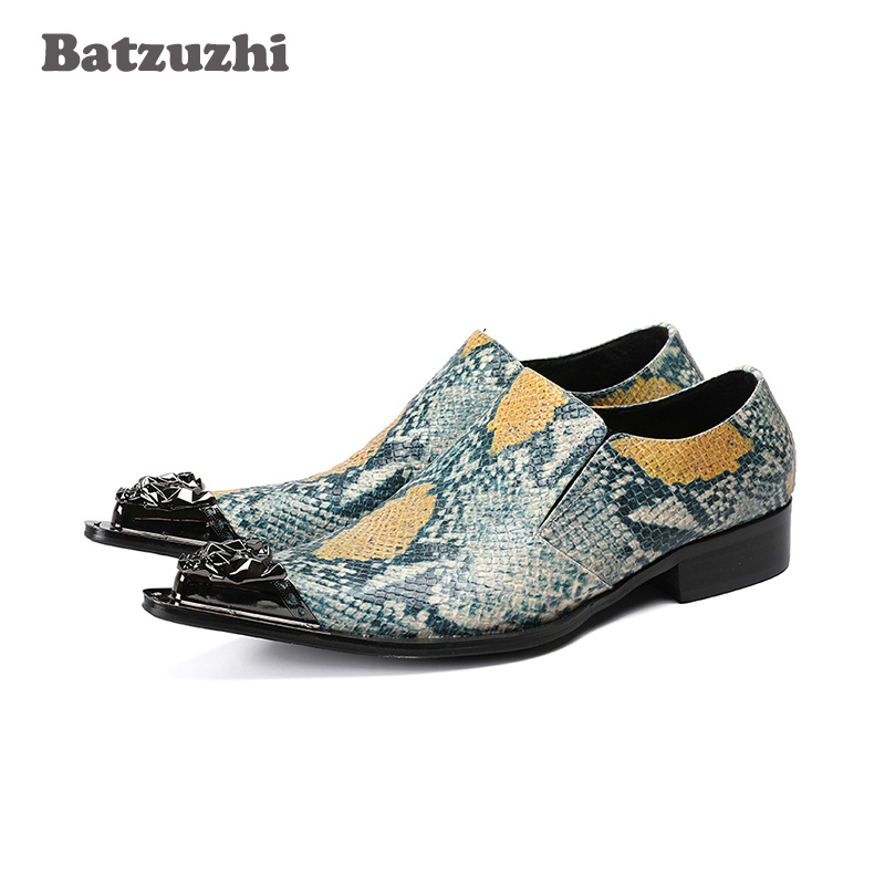 Batzuzhi Rock Personality Leather Shoes Men Pointed Metal Tip Men Shoes Formal Dress Shoes for Wedding and Party Oxfords, US12