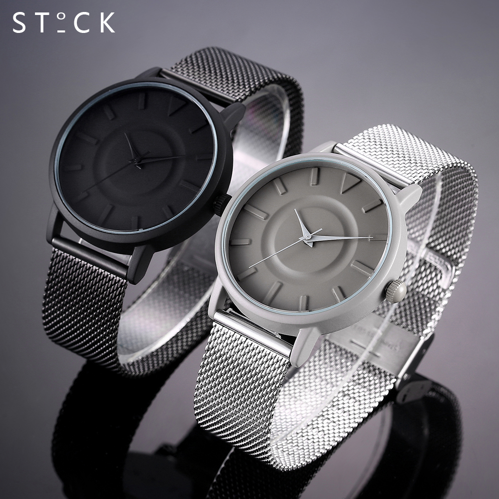 New Design STOCK Fashion Brand Casual Quartz Watch Women Metal Stainless Steel Dress Watches Relogio Feminino Clock Mens Gifts 2017 new fashion brand mcykcy casual quartz watch women ultra thin metal mesh stainless steel dress watches relogio feminino hot