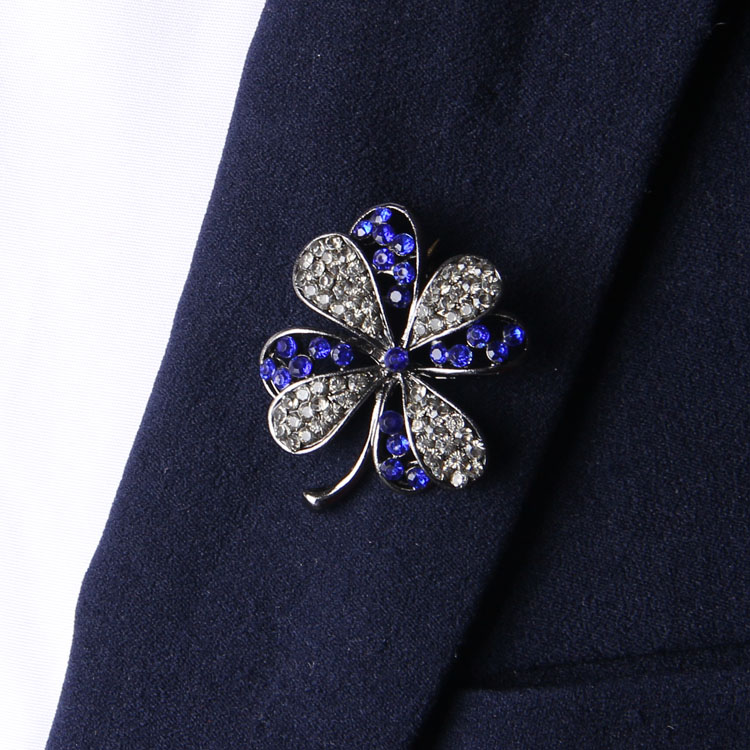 Fashion women men suit lapel pins brooch blue clear rhinestone ...