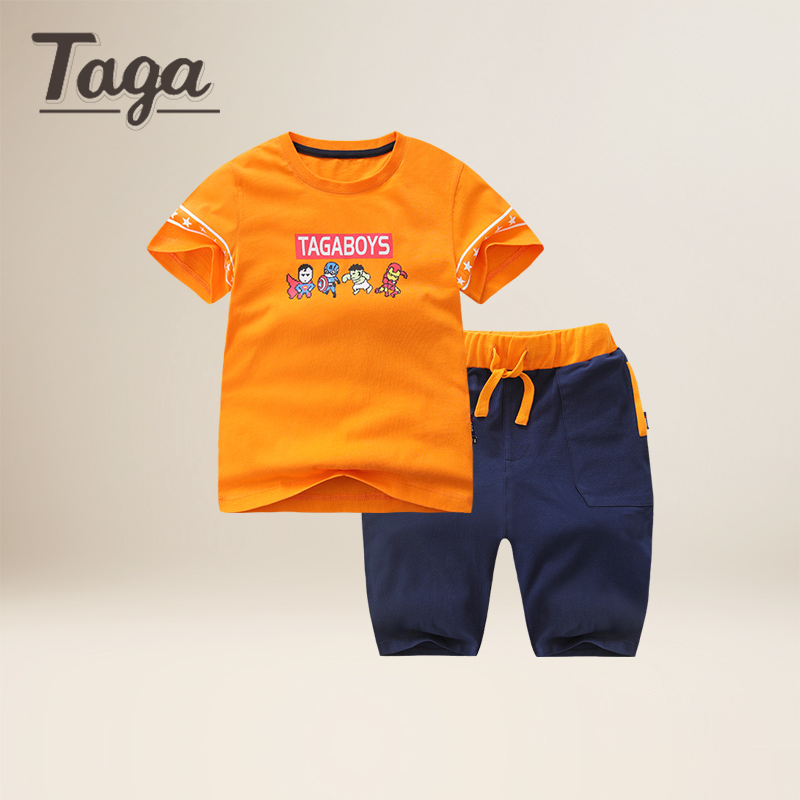 TAGA 2017 Summer Baby Boys Clothes Kids Short Sleeve Clothing Set Super hero Boys short sleeved T-Shirts+Children Shorts Sports