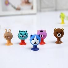 8pcs/lot Cartoon Cute Animals Bear Cat Rabbit Sucker Emoji Toys PVC Action Figure Model Pencil Topper Toys Gifts For Kids
