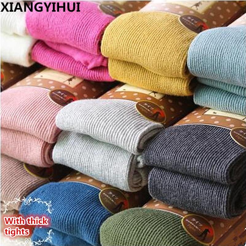 Tendencia de punto de alta elasticidad estilo grueso mujeres pantimedias moda casual vertical puro algodón rayas medias 16 colores envío gratis