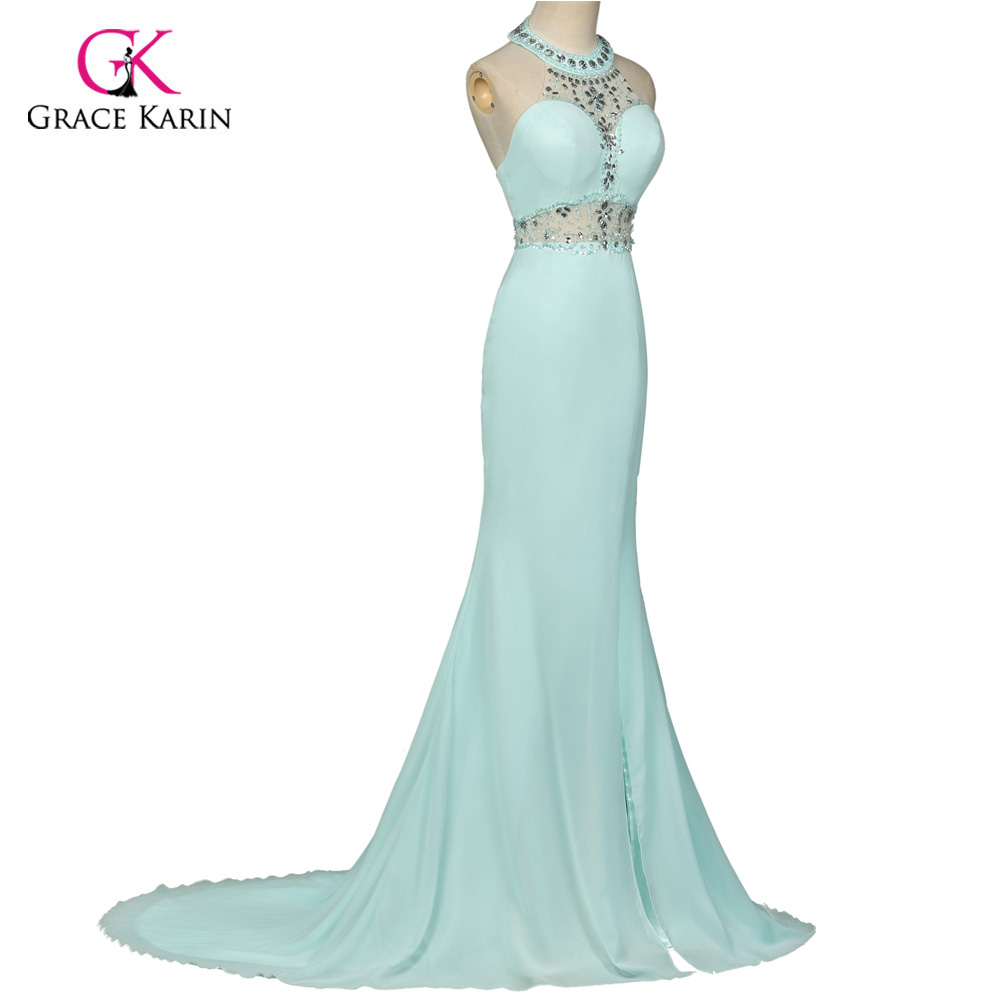 Unique designer Powder Blue Mermaid Evening Dress Gown Crystal ...