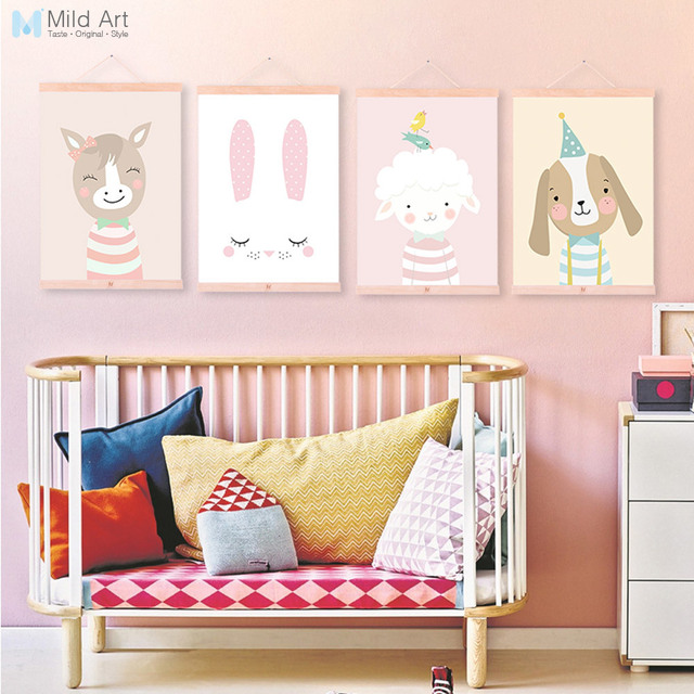 Us 8 36 47 Off Kawaii Cartoon Animal Deer Bear Dog Wood Framed Canvas Painting Nordic Baby Kids Room Wall Art Posters Home Decor Picture Scroll In