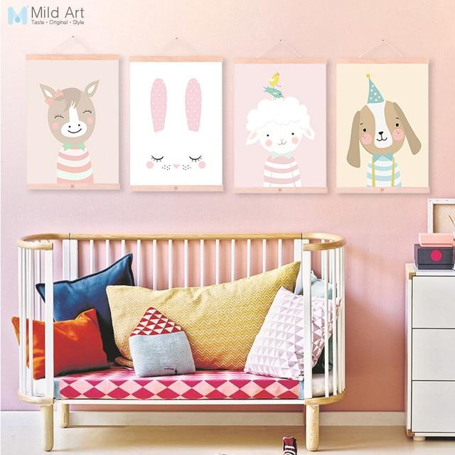 Kawaii Cartoon Animal Deer Bear Dog Wood Framed Canvas Painting Nordic Baby Kids Room Wall Art Posters Home Decor Picture Scroll