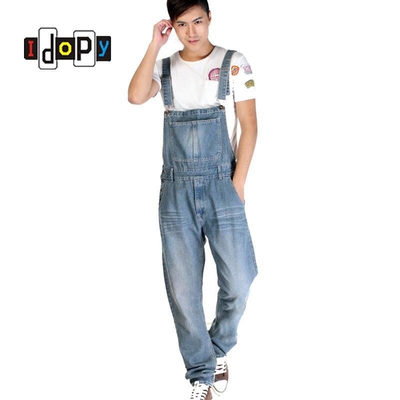 Fashion Korean Designer Plus Size Mens Denim Bib Overalls Light Blue S-5XL Loose Baggy Washed Vintage   Jean   Jumpsuit For Male