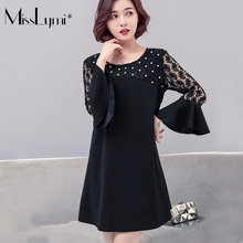 MissLymi 5XL Plus Size women Dress 2018 Spring Fashion O-neck Flare Sleeve Beading Lace Patchwork Elegant Dress Female Big Size