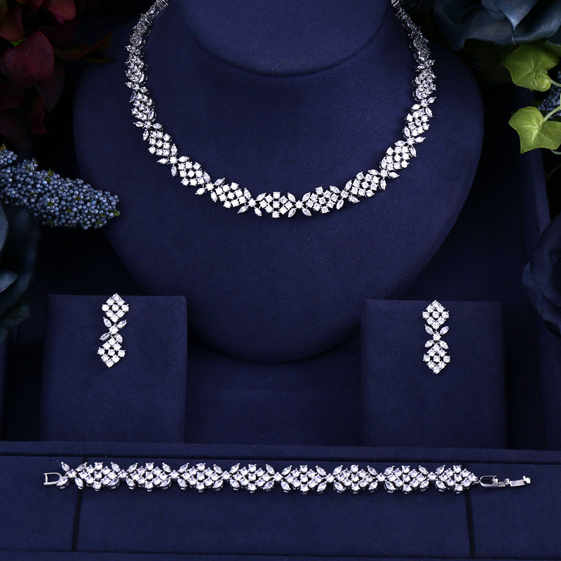 Costume Jane Kelly Zirconia Earrings-Set Necklace Crystal-Stone Nigerian Wedding-African