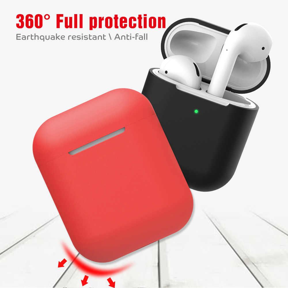 Miękkie silikonowe etui na słuchawki dla Airpods 2 skóry pokrowiec etui Box Protector bezprzewodowe słuchawki ochronna pokrywa Coque torba Capa