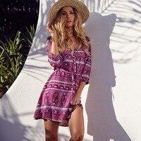 Bohemian Style Print Three Quarter Sleeve Mini Dress V Neck Lace Up Beach Dress Vestido