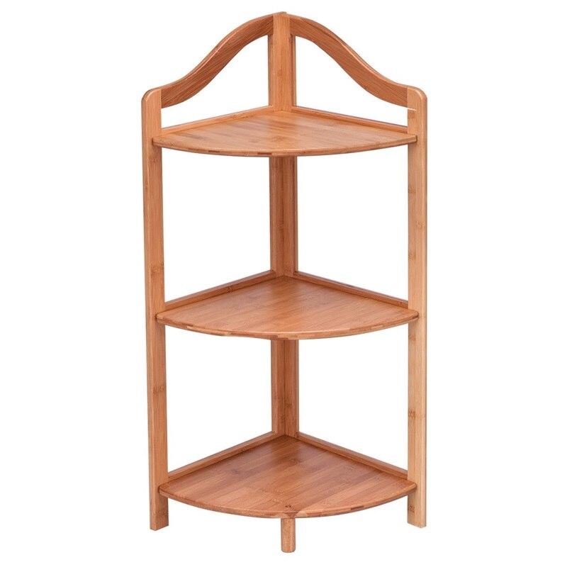 Étagère d'angle en bambou à 3 niveaux Design élégant étagères et présentoir durables et fiables HW56490