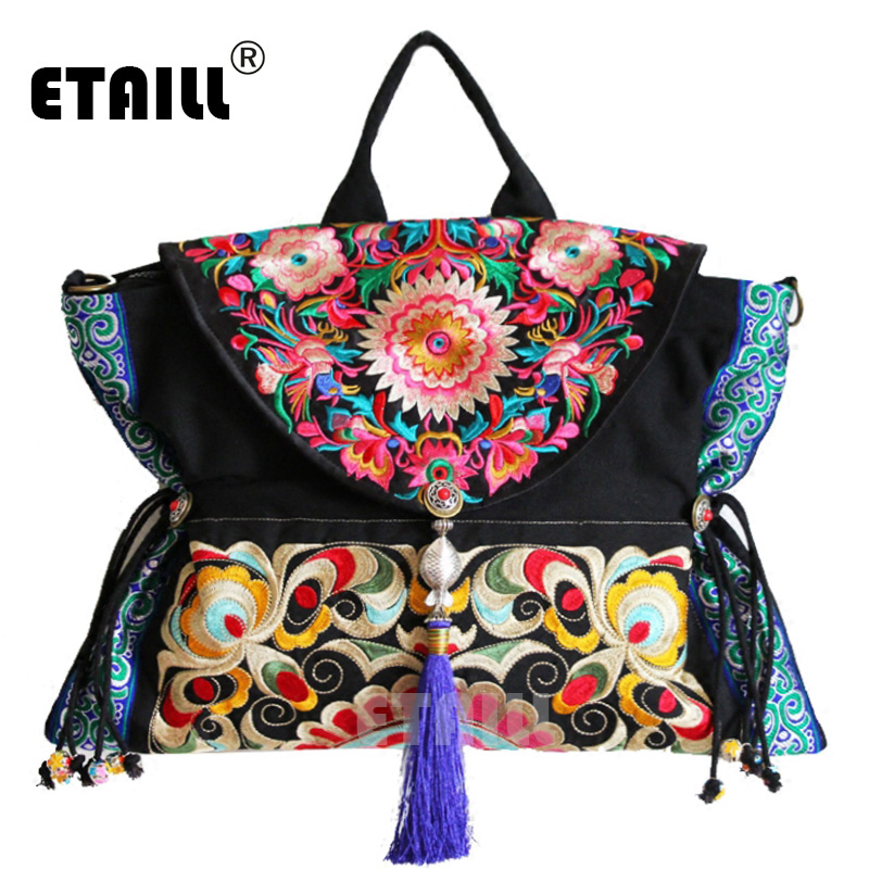 ETAILL Chinese Embroidery Single Messenger Bag Women s Fashion Leisure Crossbody Bag Canvas Ethnic Boho Embroidered