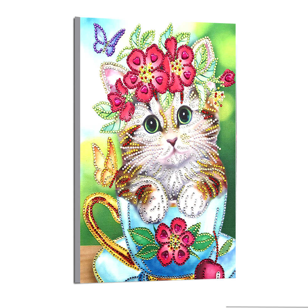2019 Pintura de Diamante Em Forma de Especial 5D Parcial do gato Bonito DIY Broca do Ponto da Cruz de Strass Cristal De Diamante Imagem Bordado