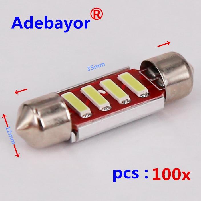 100X Festoon CANBUS 2 W 35mm 36mm C5W sans erreur blanc froid LED 4 SMD 7020 7014 ampoules 12 V voiture dôme liseuse lampe intérieure