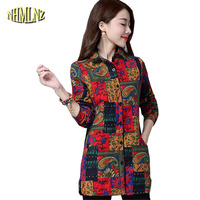 Women Autumn Shirt 2017 Latest Fashion Print Top Thick Long Sleeve Cotton Shirt Large Size Slim