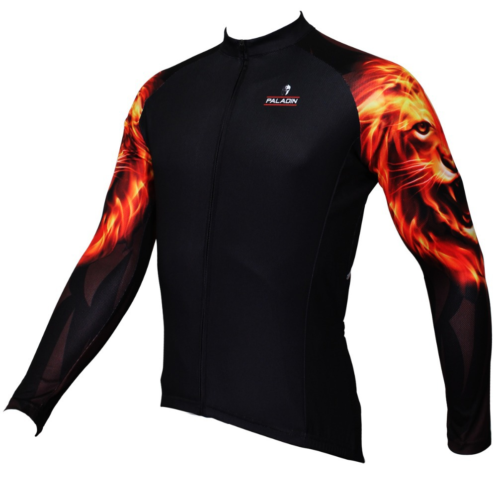Shirt design jersey - 2016 Paladin Men S Long Sleeve Gold Lions Design Cycling Jersey Cycle Tops Cool Men S Mtb Ciclismo