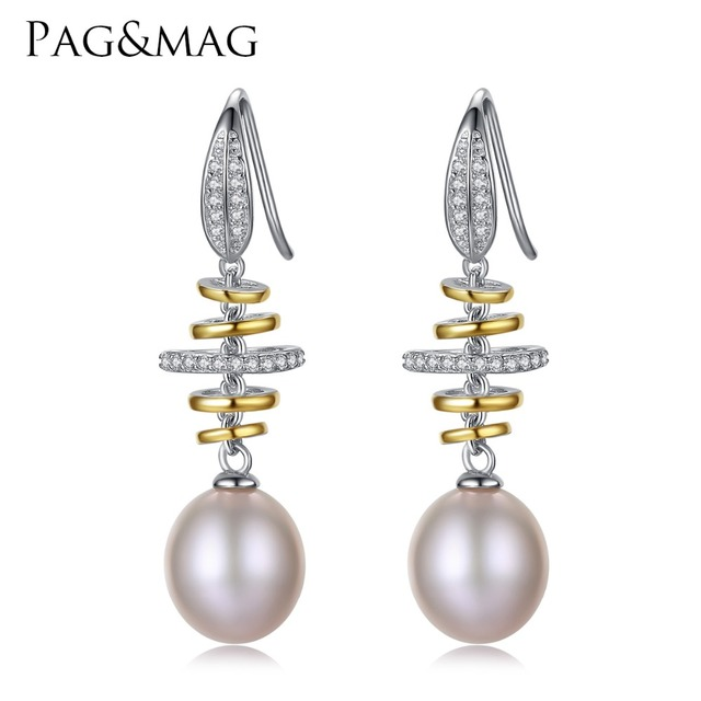 Pag Mag Brand Luxury 925 Sterling Silver Wedding Earrings 10 11mm Natural Pearl Vintage Jewelry
