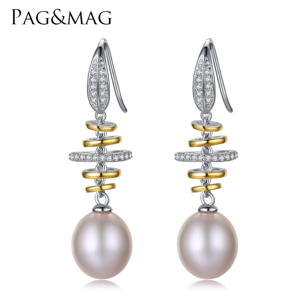 PAG&MAG Brand Luxury 925 Sterling Silver Wedding Earrings 10-11mm Natural Pearl Vintage Earrings Jewelry for Women Earrings