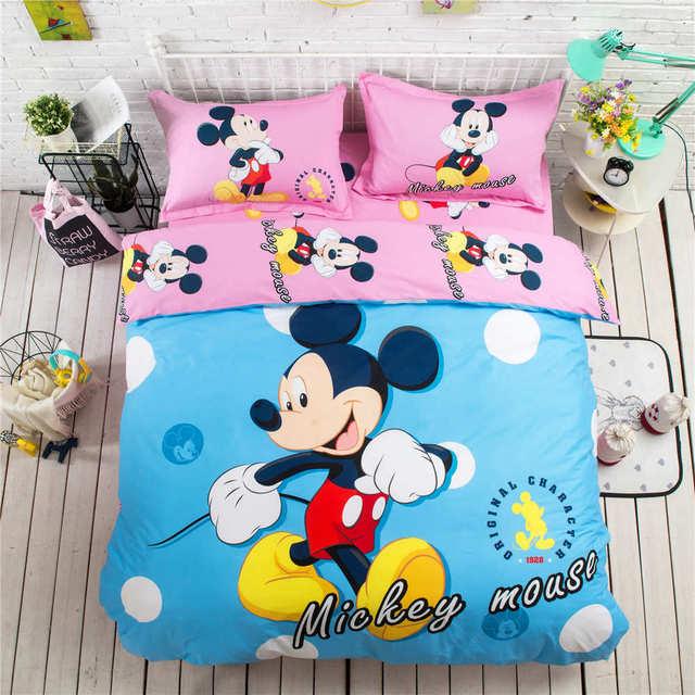 4031a4b79 الأزرق الوردي ميكي ماوس 3D المطبوعة طقم سرير غطاء لحاف المفارش الفتيات سرير  أطفال نسيج القطن