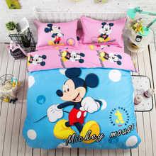 19ad0d8a0e Azul Rosa Mickey Mouse 3D Impresso Conjunto De Cama Capa de Edredão colchas  Meninas Crianças Cama