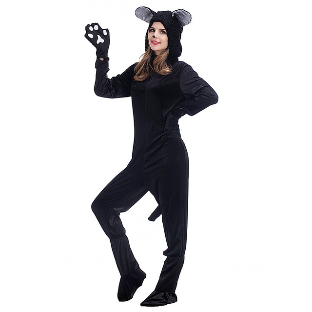 aletterhin couples cat suit halloween costumes adult women men black cat jumpsuit animal bear cosplay catsuit