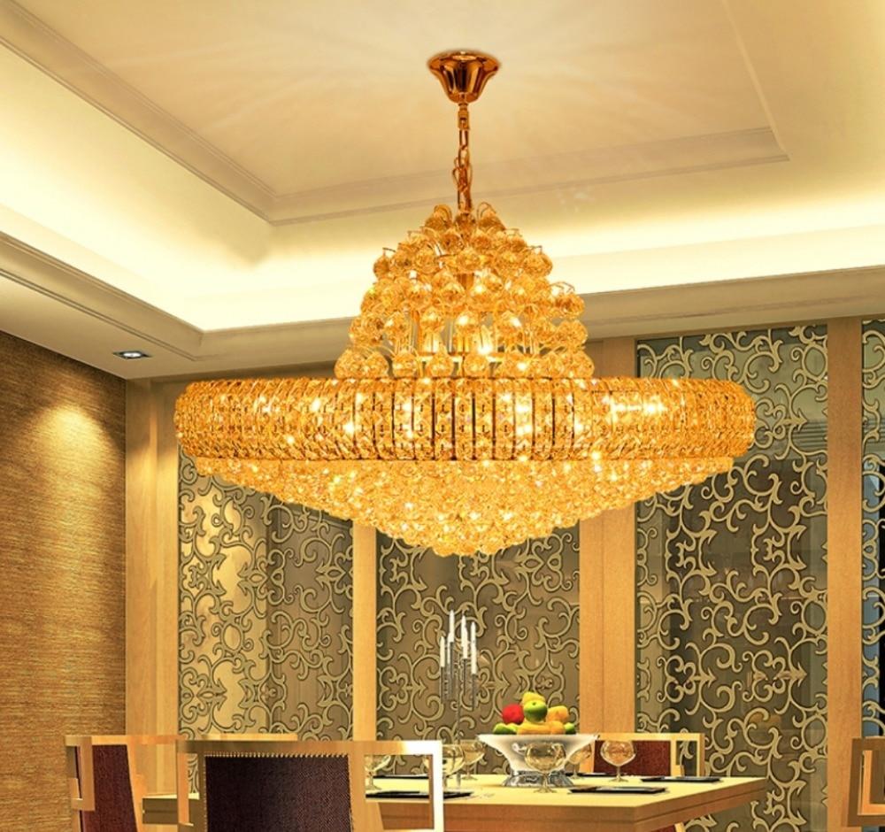 LED Moderne Gouden K9 Kristallen Kroonluchter Grote Ronde Gouden - Binnenverlichting - Foto 5