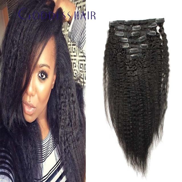 Brasileño recto rizado clip en extensiones de cabello 7 unids/set Amerian África clip en extensiones de cabello cabello humano Brasileño 100 g/set