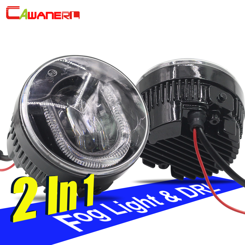 Cawanerl 2 Pieces Car LED Fog Light DRL Daytime Running Lamp For Nissan Patrol X-Trail Qashqai Juke Note Versa Tiida NV200 Cube