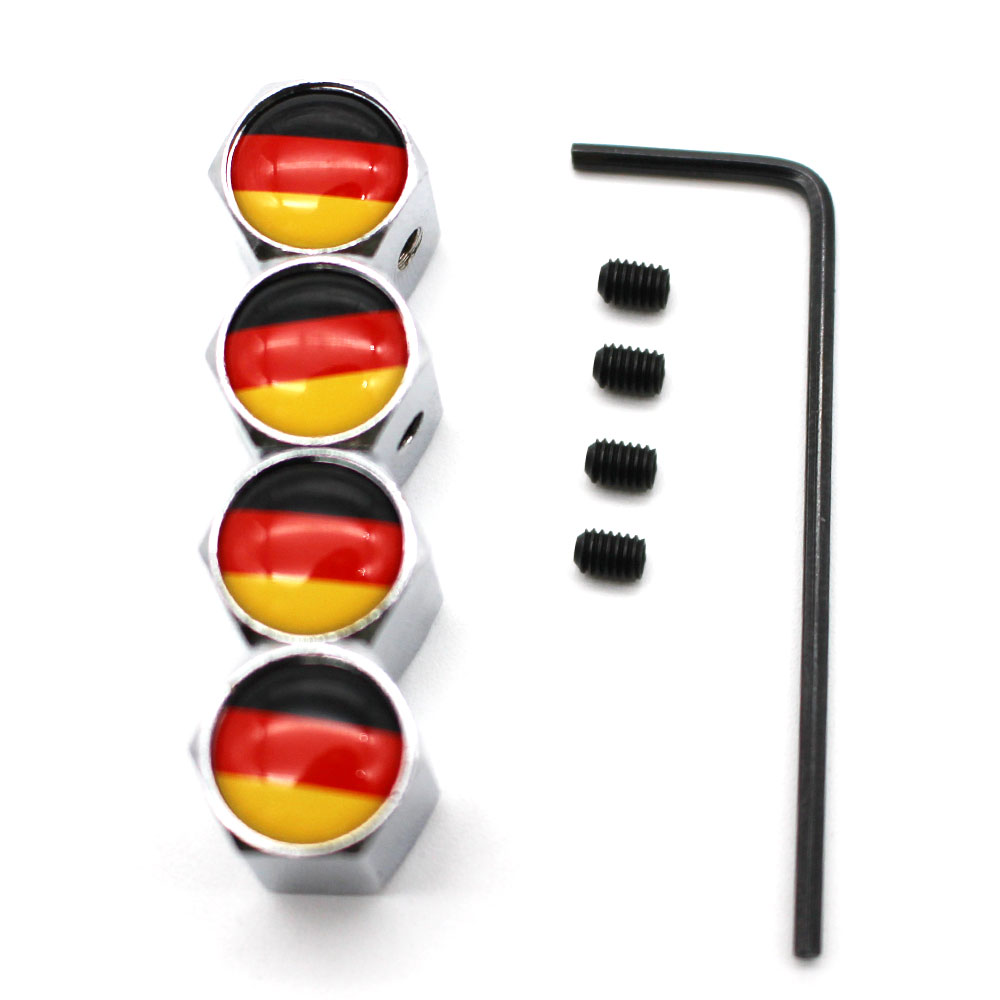5 Pcs/Set Car Styling Zinc Alloy Anti-theft Germany Flag Car Tire Valve Caps Wheel Tires Tire Stem Air Cap Airtight Covers