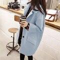 2016 otoño e invierno nueva Corea mujeres de gran tamaño sueltos Delgado era delgada capa de las lanas de las mujeres