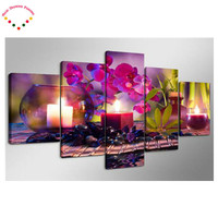 5 Pcs 5D Full Magic Diamonds Embroidery Peony Flowers Round 5d Diamond Painting Cross Stitch Kits