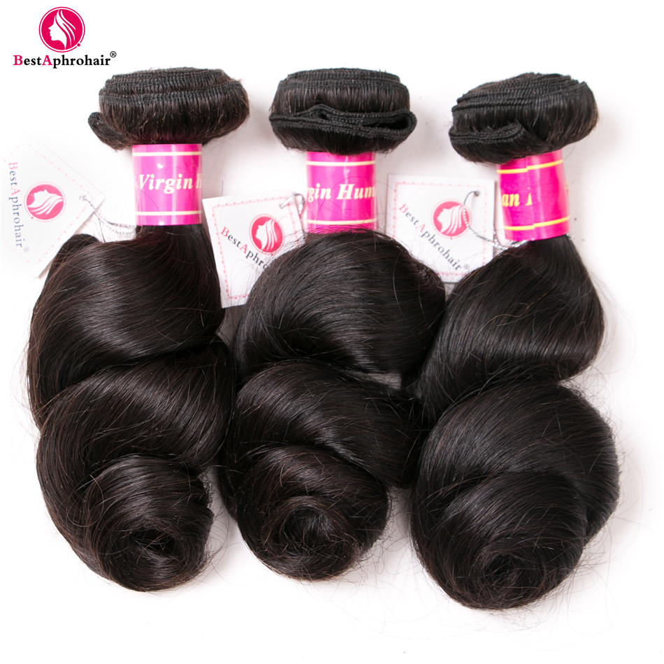 Aphro Peruvian Hair Bundles Loose Wave 12-24inch Human Hair Weave 3 Bundles Natural Color Remy Hair Extensions Fast Shipping