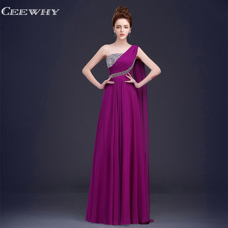 CEEWHY One Shoulder Formal Party   Dress   Chiffon   Bridesmaid     Dresses   Long Tassel Wedding Party   Dress   Vestido De Festa De Casamento