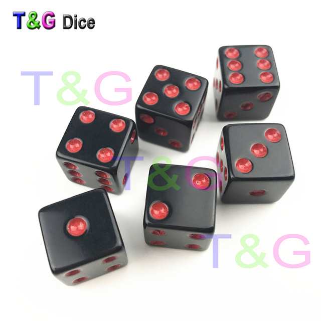 Special Black Dice With Colorful Dots Of 6pcs/Set 16mm D6 Six Sided Bar  Games