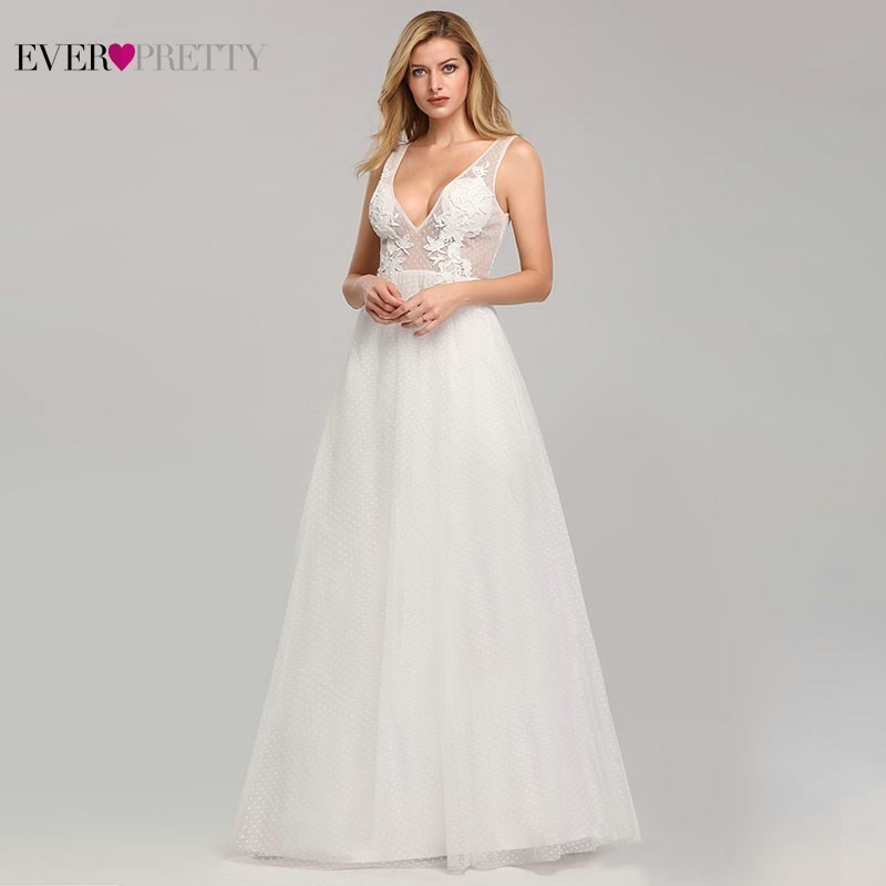 Ever Pretty Lace Wedding Dresses Long Deep V-Neck A-Line Illusion Appliques Sexy Backless Bride Dresses Vestidos De Novia 2020