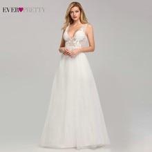 Ever Pretty Lace Wedding Dresses Long Deep V-Neck A-Line Illusion Appliques Sexy Backless Bride Vestidos De Novia 2019