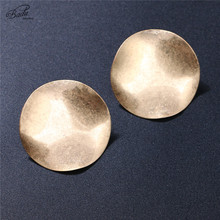 Badu Uneven Round Stud Earring Women Gold/Silver Vintage Jewelry Big Punk Fashion Daily Wearing Alloy Metal Drop Shipping