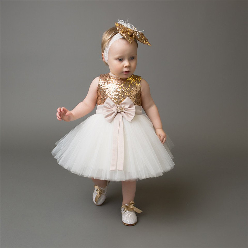 Girls Bowknot Party Gown Formal Dresses Princess Kids Baby Girl Dress Children Clothing Sequins Dresses Costume Handband 2pc 3
