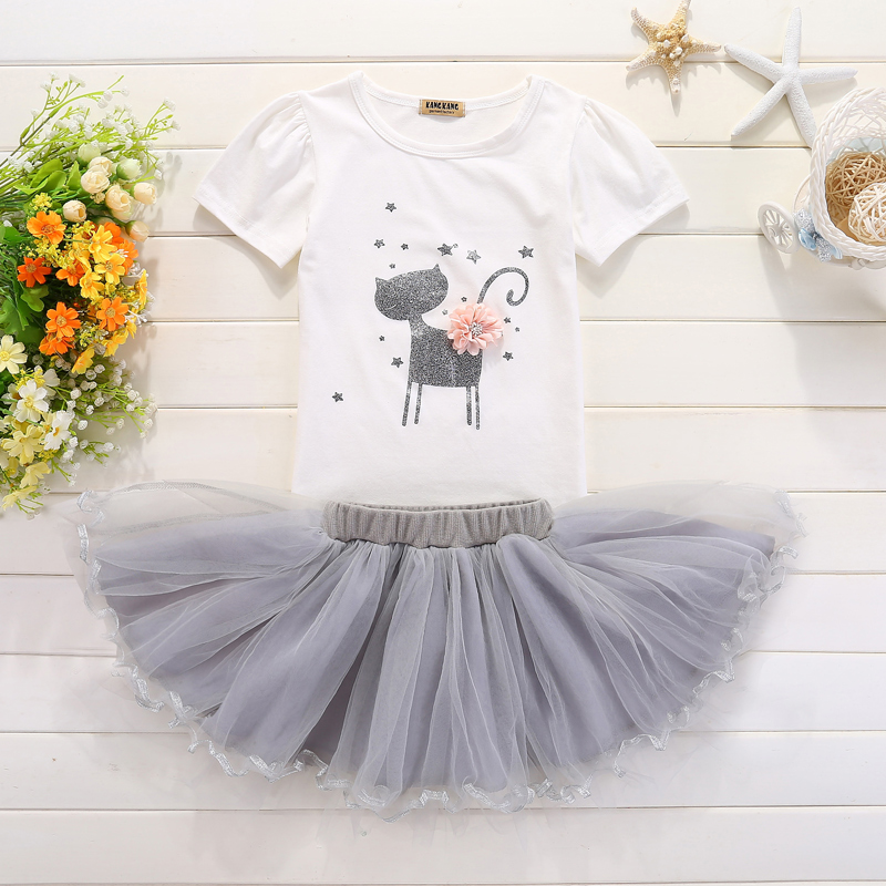Summer Supper Cute Print Cat Cartoon Baby Puffy Dress for Girl Party Casual Sets Veil Toddler Birthday Dresses Vestido Infantil