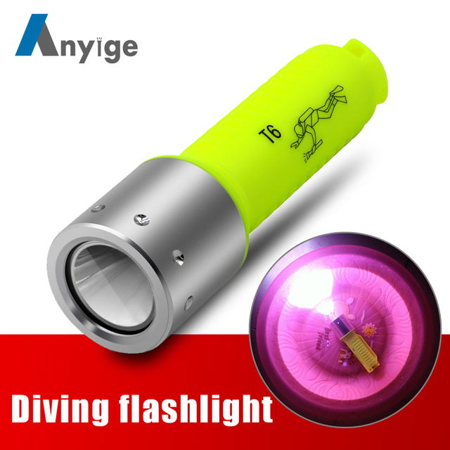 ANYIGE Diving Light T6 Led Lanttern Waterproof Diving Use 18650 Battery Flashlight Underwater Dive Torch Lamp Light For Camping