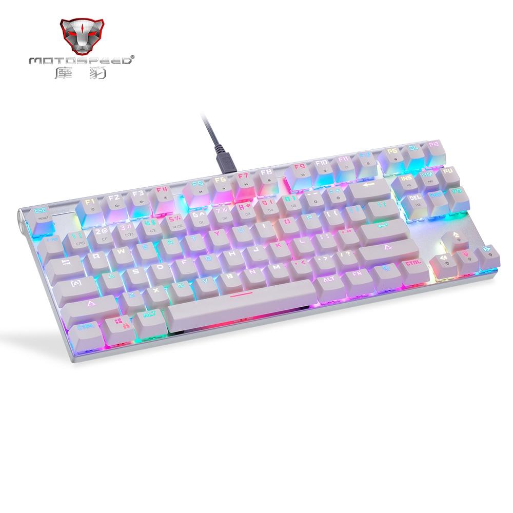 Motospeed CK101 Original Wired Mechanical Gaming Keyboard RGB Light Ergonomic 87 Anti-ghosting Keys Blue/Red Switch