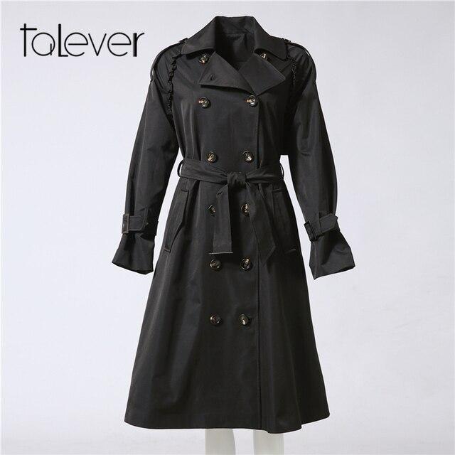 Autumn Winter Adjustable Waist Slim Solid Trench Coat for Women 4