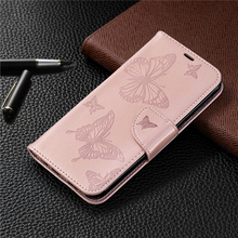 For funda Samsung Galaxy M20 M30 M10 Wallet Case Embossed Butterfly PU Leather Flip Cover for Coque