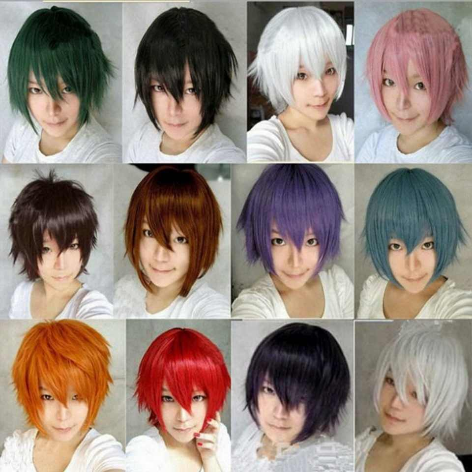 Cheap Wigs For Men Synthetic Hair Heiwajima Shizuo Halloween Costume Party Red Black Green Pink Purple Yellow White Cosplay Wig