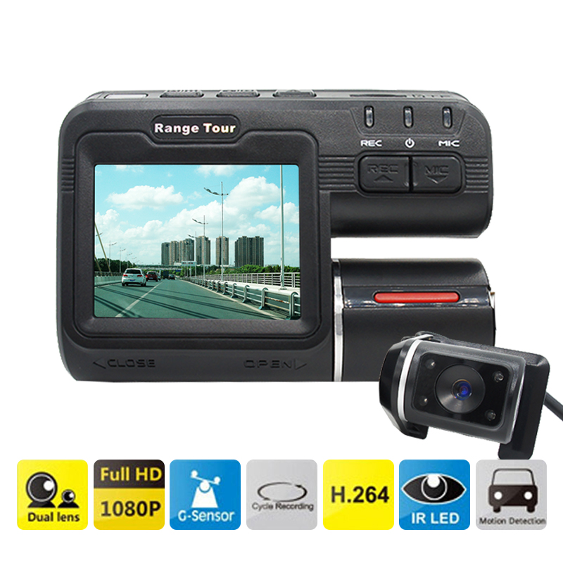 """Prix pour Double Lentille Voiture DVR Caméra I1000S Full HD 1080 P 2.0 """"LCD Dash Cam + Vue Arrière Caméra + 8 IR Led de Vision Nocturne H.264 Enregistreur Vidéo"""