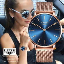 Watch Women New LIGE Horloges Vrouwen Ladies Simple Ultra Thin Mesh Belt Watch Ladies Waterproof Quartz Watch Relojes Para Mujer
