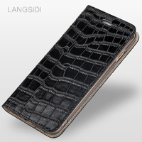LANGSIDI Phone Case Crocodile Leather Flip Leather Phone Case For Xiaomi Redmi 5A Phone Case All Handmade Customized